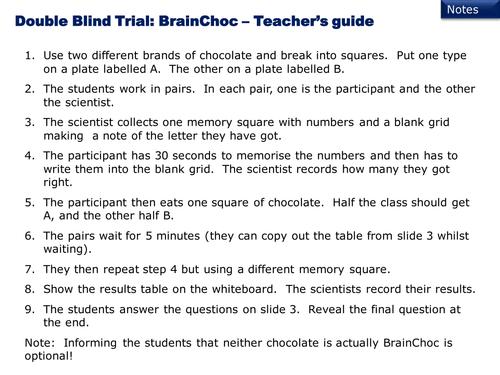 Double-blind trial worksheet