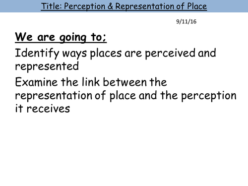 Perception of Place (Changing Places)