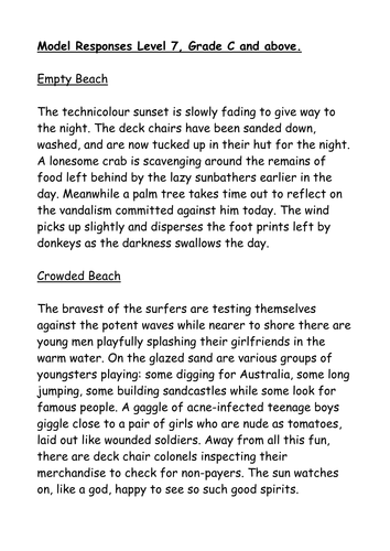 models of descriptive writing an empty beach and a crowded  2 models of descriptive writing an empty beach and a crowded beach by hmbenglishresources1984 teaching resources tes