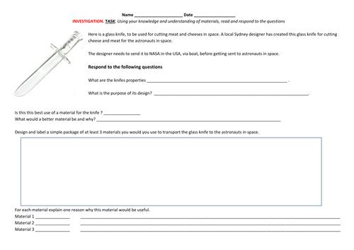 Science: Materials - Design Task