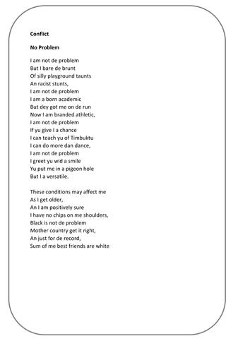 Edexcel conflict poetry 9-1 Sample assessment 3 new specification specimen exam question No problem