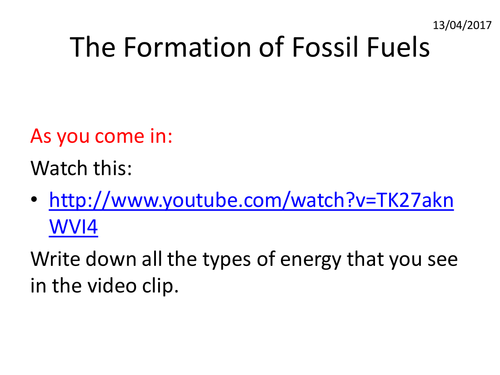 Energy 2 - Formation of Fossil Fuels lesson