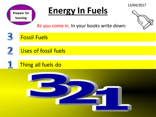 Energy 3 - Energy in Fuels lesson