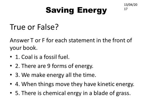 Energy 4 - Saving Energy lesson
