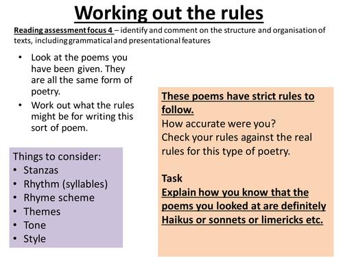 introduction to poetry form poems haiku limerick shape sonnet poetic form ks3 ks2 by. Black Bedroom Furniture Sets. Home Design Ideas