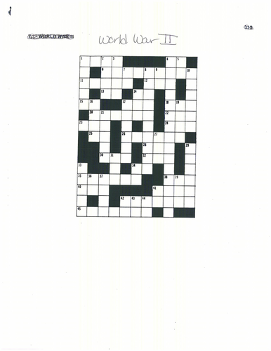Crossword Puzzle for World War II- geared towards US