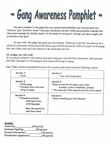 gang awareness pamphlet students create a pamphlet to be alert of