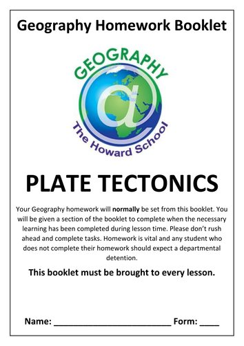 KS3 Plate Tectonics Homework Booklet