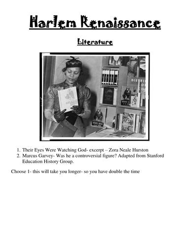 1920's The Harlem Renaissance Literature Mini Lesson