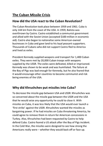 The Cuban Missile Crisis Fact File