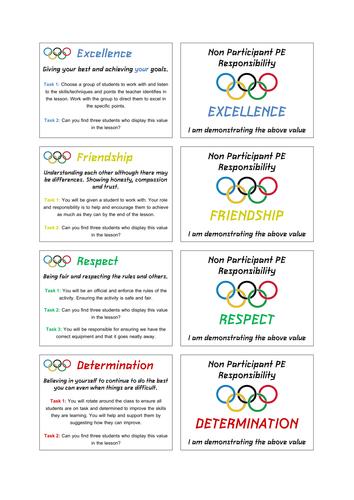 PE Non Participant Cards - Olympics Theme