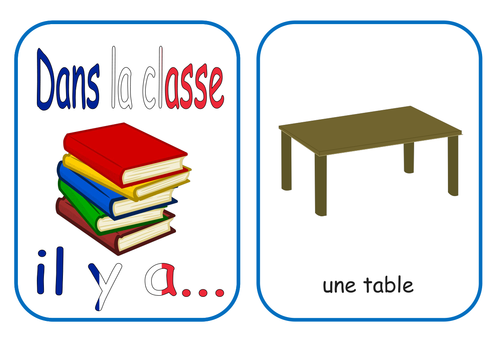 French Classroom Items and Objects Flash Cards and resources KS1/2