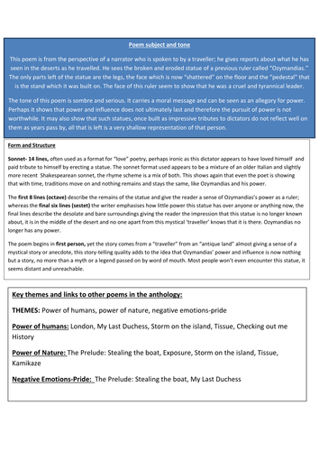 ways to structure a comparative essay for aqa power and conflict ozymandias a fully annotated copy of the poem from the power and conflict collection