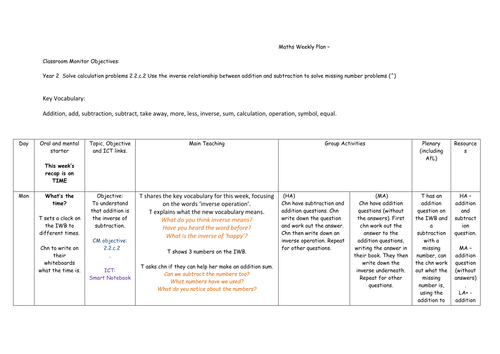 Year 2 4 lesson plans for inverse of subtraction and addition
