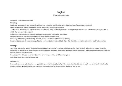 Yr 2 English planning Dinosaur theme linked to Christmasaurus by Tom Fletcher