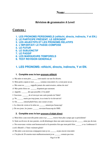 French A Level Grammar Revision Booklet with Test