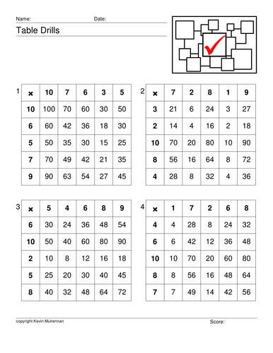 Table Drills Mathematics Multiplication KS1 KS2 Maths Freebie Free