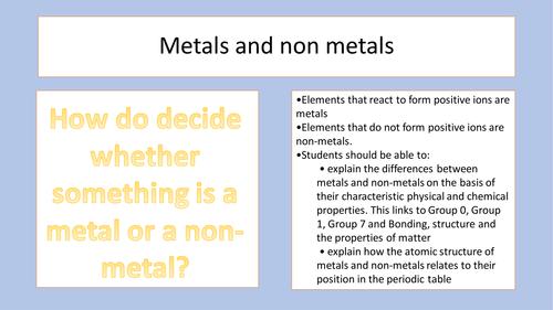new aqa metals and non metals