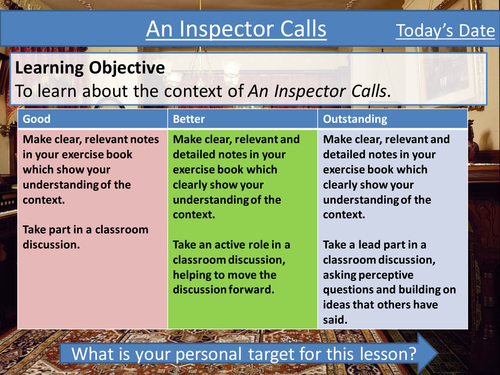 An Inspector Calls - Lesson 1- Considering context - Tailored for the Eduqas Exam Specification