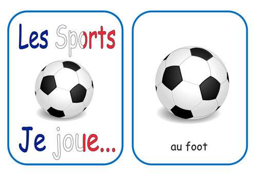 French Sport Flash Cards and Game KS1/2 Je Joue...