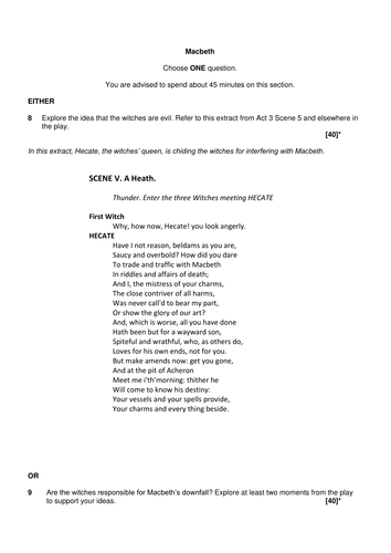 exam style questions for macbeth ocr new gcse english  exam style questions for macbeth ocr new 9 1 gcse english literature by theartilleryman teaching resources tes