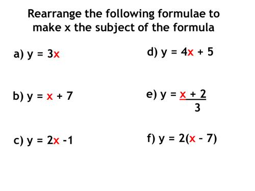 Rearranging Formulae Revision