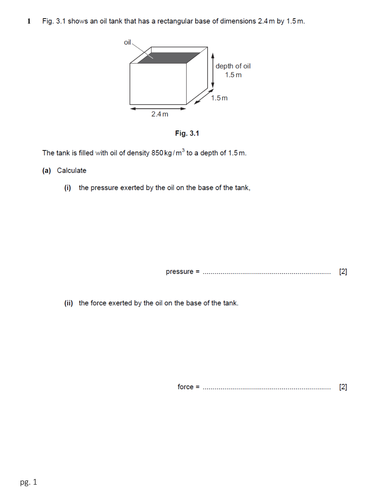 Worksheet on Mass, Weight, Density and Pressure