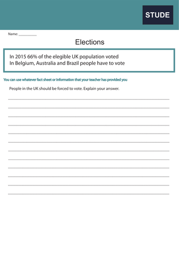 General Election 2017 Worksheets Pack - KS3