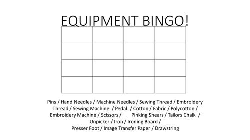 Fashion & Textiles Equipment Bingo - Vocabulary Literacy Starter Activity