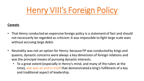 Henry VIII & Foreign Policy up to 1529