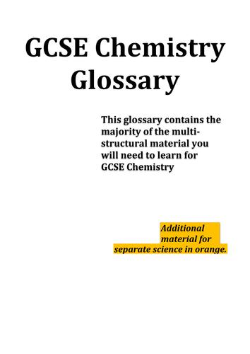 GCSE Chemistry AQA - Complete glossary