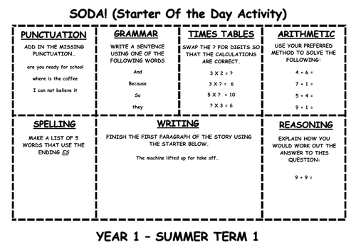 Calendar Activities Year 1 : Daily soda activities year by erylands teaching