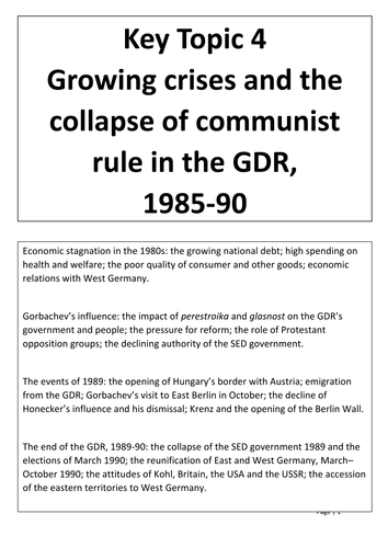 GDR Paper 2 (Edexcel) Key Topic 4 (Growing crises and the collapse of com... ) Student Booklet