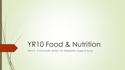 WJEC GCSE KS4 Food & Nutrition: Butter, Oil, Margarine, Sugar & Syrup Commodity Term Whole Project