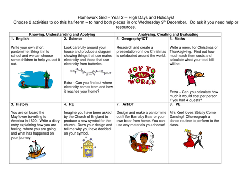 Year 2 High Days and Holidays (celebrations) topic web and creative homework grid of activities.