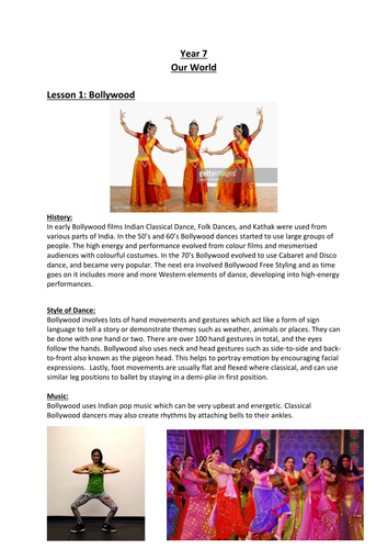 KS3 Styles of Dance Resources