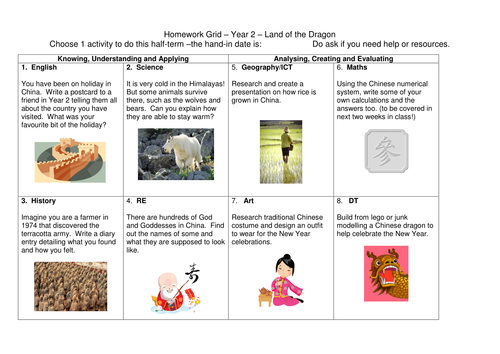 Year 2 Land of the Dragons (China) cross-curricular topic web and creative activities homework grid.