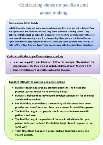 AQA Religious Studies A: Theme D: Pacifism and Peacemaking