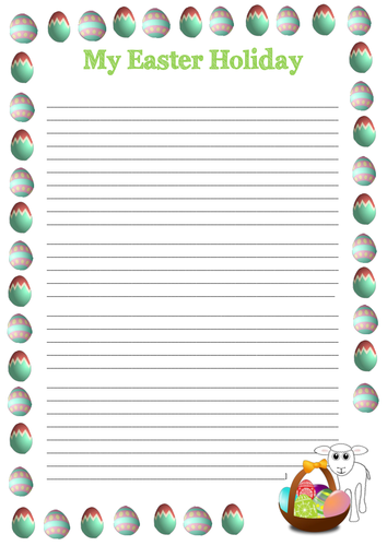 Easter Holiday Writing Frames and Word Vocab Mat