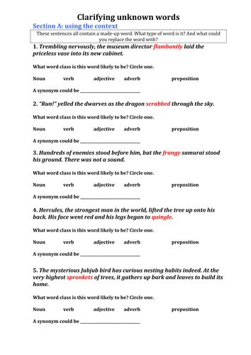 Clarifying Unknown Words When Reading Worksheet By Essexboy