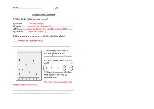 y7 Separation summary questions