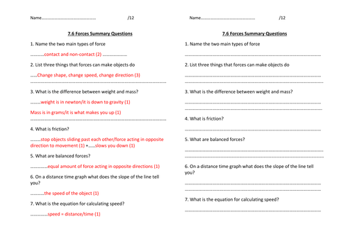 y7 Forces summary questions