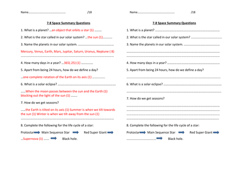 y7 Space summary questions