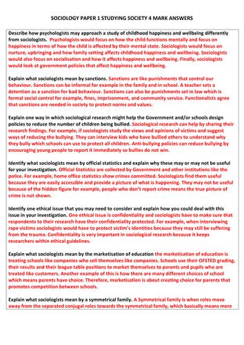 Sociology 12 mark paper