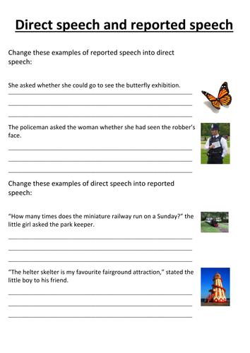 Reported Speech to Directed Speech Worksheet by nayanmaya ...