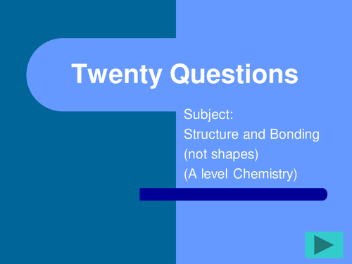 FUN A level revision resource-Chemistry - Structure and bonding work in a 20 question grid
