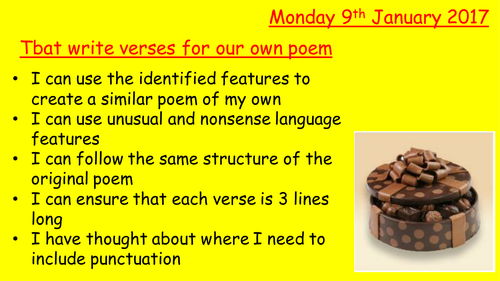 Write your own Magic Chocolate Box poem
