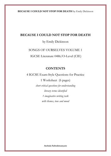 BECAUSE I COULD NOT STOP FOR DEATH by Emily Dickinson_4 IGCSE Exam-Style Questions_ 1 Worksheet