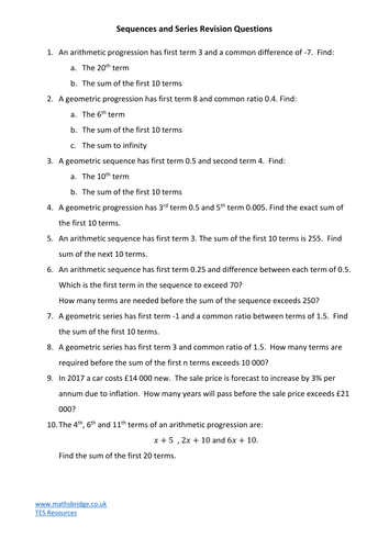 sequences and series revision questions by mathsbridge teaching