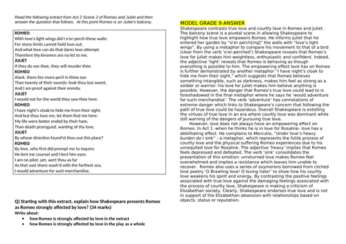 Romeo and Juliet: Grade 9, Grade 8 and  Grade 7 model responses to AQA GCSE questions
